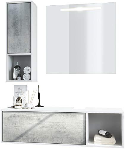 Vladon Badmöbel Komplettset La Costa, Korpus in Weiß matt/Fronten in Beton Oxid Optik, mit LED Spiegel