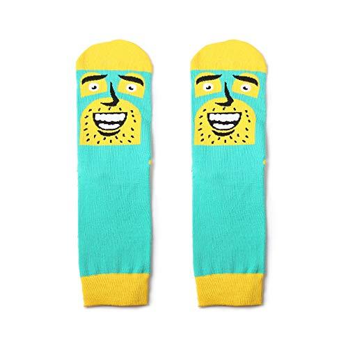 CHAOJI Socken 6 Paare Trend Europäischen Und Amerikanischen Stil Herren Baumwollsocken Persönlichkeit Spaß Gesicht Schweiß Herren Socken Lange Rohr Socken