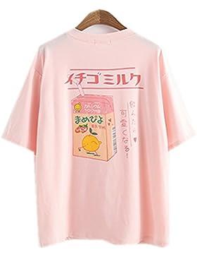 Himifashion - Camiseta - Floral - Cuello redondo - para mujer