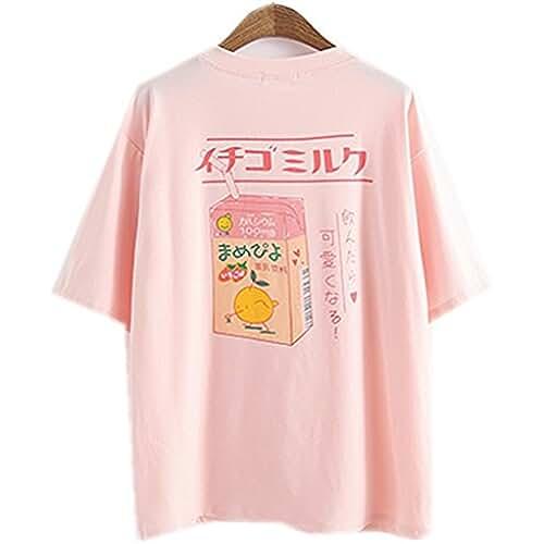 ropa kawaii para los mas guays Himifashion - Camiseta - Floral - Cuello redondo - para mujer