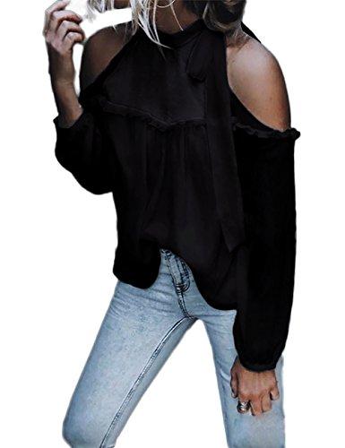 Damen Abend-shirt (Boutiquefeel Damen Tied Neck Schulterfrei Frills Chiffon Bluse Shirts Schwarz M)