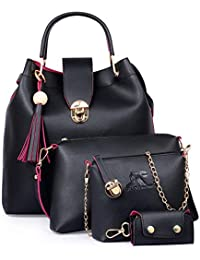 71d5670e9ffa Speed X Fashion Combo Set Pu Leather Shoulder Bags For Women Black Colour  Set Of 4
