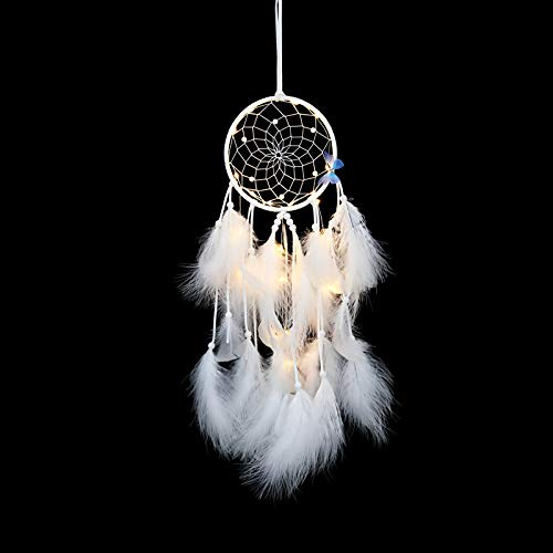 YIWAN Handmade Dream Catcher Wall decorationBlauer Schmetterling Schneewittchen Traumfänger Anhänger Schneewittchen fertig (gewickeltes Licht) -