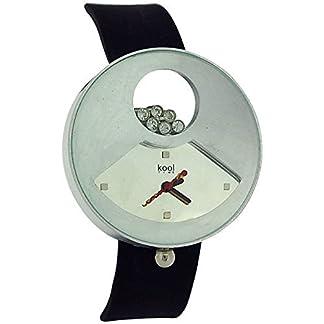 En el momento de la identidad de la estrella Kool analógica de silicona de color negro de la correa de la manera de las señoras reloj KT50