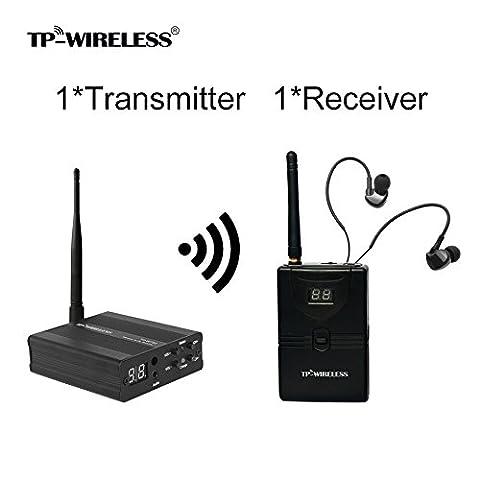 TP-WIRELESS 2.4GHz Professionelles digitales In-Ear Monitoring-System für Bühnen (1 Sender 1 Empfänger)