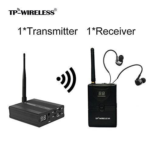 TP-WIRELESS 2.4GHz Professionelles digitales In-Ear Monitoring-System für Bühnen (1 Sender 1 Empfänger)