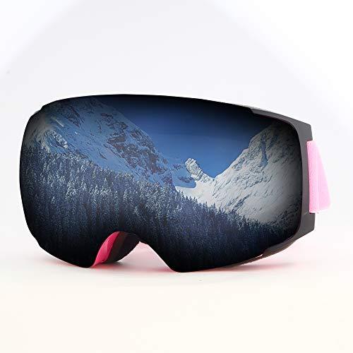 Mounchain Professionelle Skibrille für Damen, Herren und Brillenträger, 100{cdf6c1dc6d3982f842360b985b56668849e354bb6203c1e219d7b2852bf710f8} UV-Schutz, Anti-Nebel Skibrille, zum Augenschutz bei Winter Outdoors-Aktivität (Rosa + Grau)