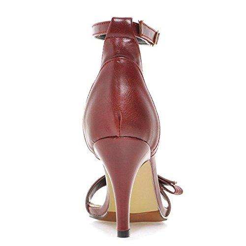 TAOFFEN Femmes Mode Aiguille Sandales Talons Hauts Bout Ouvert Sangle De Cheville Chaussures De Bowknot Rouge