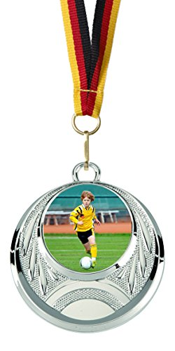 Junioren-folie (50er-Set Medaillen »Fußball« für Kinder, Jugend und Junioren, mit 25 mm Sportfoto-Emblem (Folie, bunt))