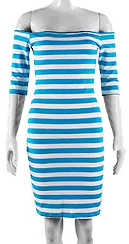 u-shot da donna Stripe off manica damigella d' onore abito Business cocktail party Bodycon Wiggle vestito Blue