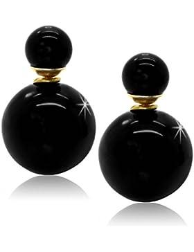 tumundo 2 Doppel Perlen-Ohrringe Ohrstecker Damen-Schmuck Kugeln Ohr Piercing Modeschmuck Front Back Groß Glänzend
