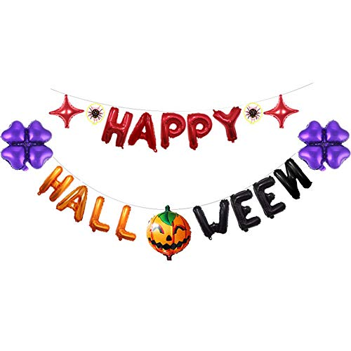 Happy Halloween Banner Girlande Bunting Aluminiumfolie Luftballons Set Halloween Party Indoor Outdoor Dekoration für Zuhause Kindergarten Büro