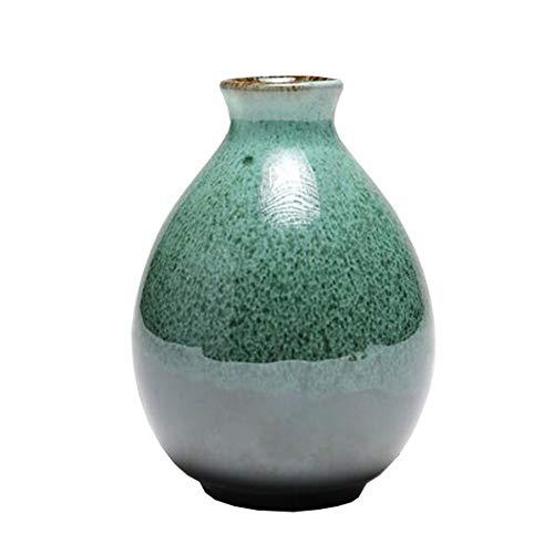 Mini chinesische Keramik Blumenvase Bud Vase Weinflasche, Home Office, Dekor, Tischvasen, Bücherregal Ornamente Flaschen, Ultramarin -