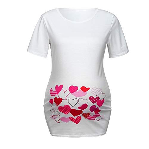ZYUEER Damen Sommer Umstandskleid Tshirt Umstandsmode Kleider Frauen Mutterschaft Kurzarm HerzföRmiger Druck Tops T-Shirt Schwangerschaftskleidung -