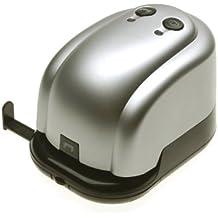 Genie 3525C-FRB - Grapadora y perforadora eléctrica (capacidad para perforar 14 hojas y grapar 20 hojas, incluye cable de red), plateado y negro
