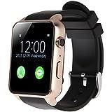 LeaningTech Smartwatch Smartuhr NFC Bluetooth Kamera Mitteilung Schrittzähler GT88 wasserdicht für iPhone IOS Android Schwarz Gold