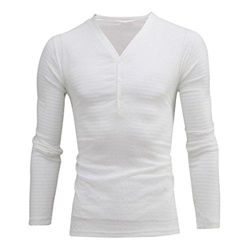 OHQ Shirt Respirant à Manches Longues pour Hommes Blanc Noir De Base DéContracté Slim Fit Col V Chemise Homme Manche Longue Chic Soiree (Blanc, XL)