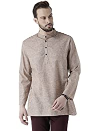 Vivids India Men's Cotton Linen Beige Kurta - G-209