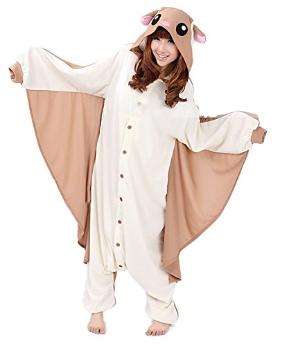 Honeystore Adult Pyjama Cosplay Tier Onesie Body Nachtwäsche Kleid overall Animal Sleepwear Erwachsene Braun and Elfenbein L