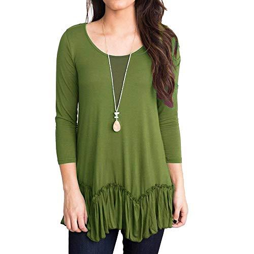 Plissee-rüsche Shirt (KEERADS Damen Pullover Lässige Solid O-Neck 3/4 Ärmel Rüschen Plissee Hem Top T-Shirt Women Sweatshirt)