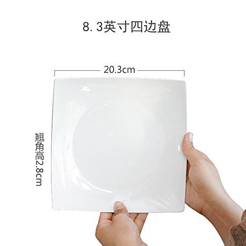 MLGG Plaque Carrée en Porcelaine Blanche Plaque en Céramique, 8,3 Pouces Quatre Chargé