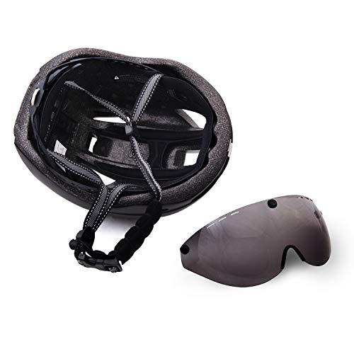 Exclusky Fahrradhelm Fahrrad Erwachsene Fahrrad Helme 57 – 61 cm mit Brille (black) - 7