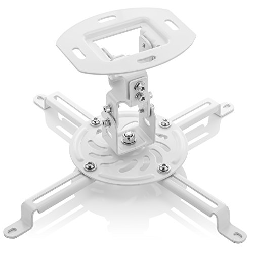 deleyCON Supporto da soffitto universale per proiettore / inclinabile +-15° - ruotabile di 360° - portata max. 13,5kg - gestione cavi integrata - bianco