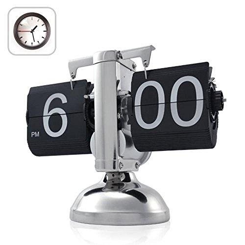 Betus [Estilo Retro Reloj Giratorio de Escritorio con Repisa: Pantalla Mecánica-Digital Clásica Funciona con Pilas - Decoración del Hogar y la Oficina 20,32 x 16,51 x 7,62 cm (Negro)