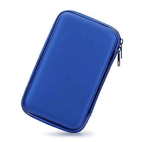 3,5 Zoll EVA Stoßfest Wasserdicht Festplatte, der Travel Case für Externe Festplatte (tragbar, GPS Kamera und externer Akku Pack, Tragbares Ladegerät, Tasche (Blau)