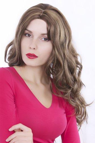 Braune Haare Farbtöne (Perücke lang braun & blond Strähnen gewellt GFW181-10H124)