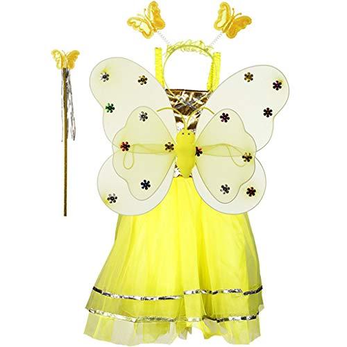 Coupons Kostüm - jiuloner Prinzessinnen-Kostüm, 4-teilig, langes Doppellagiges Tutu-Kleid für Kinder im Alter von 3-10 Jahren 2