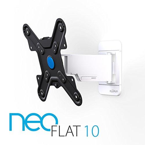Exelium Neo 10 Wandhalterung für Fernseher 48cm (19 Zoll) bis 81cm (32 Zoll), drehbar (+/- 5°), schwenkbar (+/-70°), neigbar (+10°/-15°), Traglast: max 25 kg, Wandabstand 35-240mm, VESA 75x75 bis 200x200, weiß