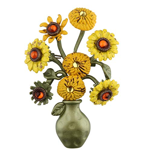 YYAMOMO Brooch Boutonniere Professional Fashion Sunflower Vase Green Painted Accessories Empty Support Ladies Jewelry Holiday Travel Accessories Sweater Chain Lu -