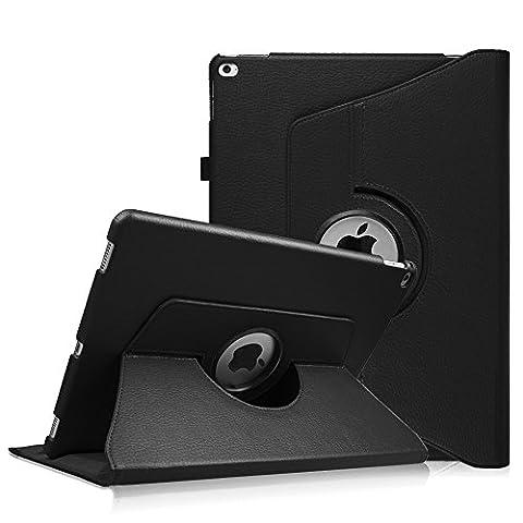 iPad Pro 12.9 Zoll Hülle - Fintie 360 Grad Rotierend Stand Kunstleder Schutzhülle Smart Cover Case Tasche Etui mit Auto Schlaf / Wach Funktion für Apple iPad Pro 12,9 Zoll 2015 Release Tablet, Schwarz