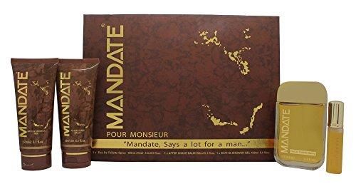 Eden classic mandate confezione regalo 100ml edt spray + 15ml edt spray mini + 150ml balsamo dopobarba + 150ml bagnoschiuma & gel doccia