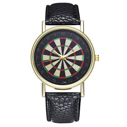 camellia® Hochwertige Marke Neue Beneficial T49 Dartscheibe Lederband Quarzuhr Modische Schöne Süße Geschenk (schwarz)