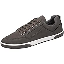 Baskets en Cuir Homme,Hiver Chaussures Bateau Lacets Casual Mocassins Noir  Mode Overdose Running Sneakers c16eebc9c550