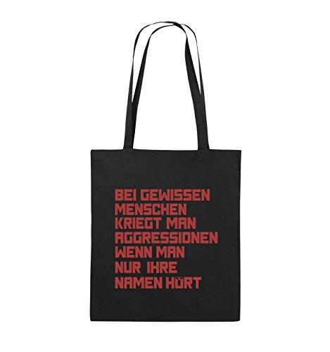Comedy Bags - Bei gewissen Menschen kriegt man Aggressionen. - Jutebeutel - lange Henkel - 38x42cm - Farbe: Schwarz / Silber Schwarz / Rot