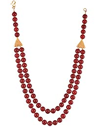 Ganapathy Gems Beads Jewellery Red Shell Pearl Multi-Strand Necklace For Women (12447)