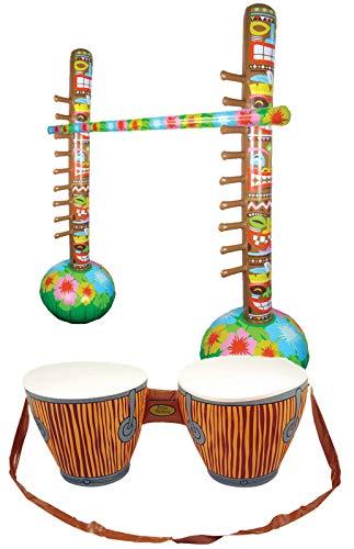 fblasbare Bongo Trommeln & Limbo Tropical Bar Spiel Strand Party Supplies ()