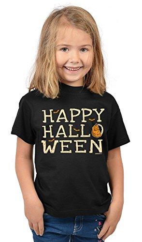 Kinder Halloween T-Shirt - Kindershirt Halloweenparty : Happy Halloween - Kinder Tshirt Sprücheshirt Halloweenparty Gr: S = 122-128