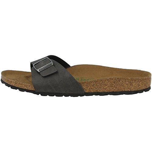 BIRKENSTOCK Madrid Ancient Sandale mit Orig. Kork-Latex Fußbett, Birko-Flor® Obermaterial mit Digital-Druck in Mosaik-Optik, Fleece-Lining, Grau (Anthracite), EU 35S, -