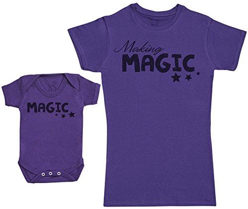 Baby Bunny Making Magic - Ensemble Mère Bébé Cadeau - Femme T Shirt & bébé Bodys - Violet - L & Naissance