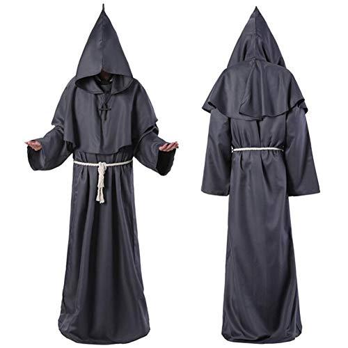 XIONGDA Halloween Cosplay Kostüm Robe Mönch Kostüm Mittelalterlichen Mönch Mit Kapuze Mönch Renaissance Priester Kostüm Halloween Kostüm Christian Anzug,Grau,M (Christian Grey Kostüm)