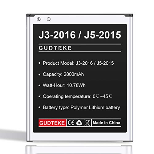 GUDTEKE Akku für Samsung Galaxy (J3 2016) (J5 2015) Verbesserter 2800-mAh-Lithium-Ionen-Akku. Ersatz des internen Samsung-Akkus für das Samsung Galaxy J320A J320V EB-BG530BBU EB-BG530BBE J5-G530P