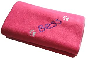 Spoilt Rotten Pets Cosy Paw Hot Pink Personalised Medium Size (90cm x 70cm) Dog Blanket. Please Write Name or Wording Required On Your Blanket in The Gift Note Box - This Appears on the WRAP Page During Checkout