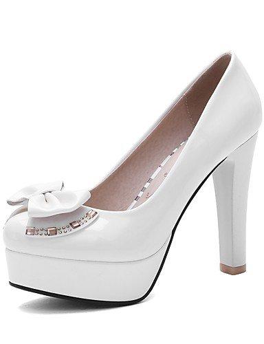 WSS 2016 Chaussures Femme-Bureau & Travail / Décontracté-Noir / Rouge / Blanc-Gros Talon-Talons / Bout Arrondi-Talons-Cuir Verni black-us6 / eu36 / uk4 / cn36