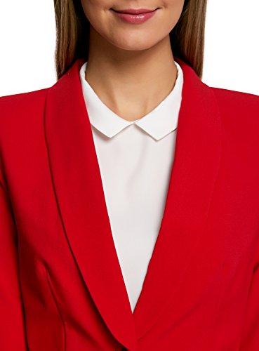 oodji Ultra Femme Blazer Ajusté Fermeture à Bouton Rouge (4500N)