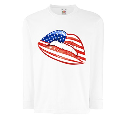 41WnDnHxXRL BEST BUY #1T shirt for kids Patriotic USA Lips  American flag clothing (5 6 years White Multi Color) price Reviews uk