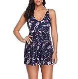 feiXIANG Einteiliger Badeanzug Bedruckter Beach Kleid Beachwear Schwimmanzug Bademode Overall (Marine,XL)